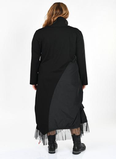 Optique Knitwear Baskılı Bisiklet Yaka Uzun Kol Viskon Elbise Siyah